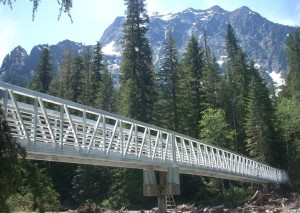 Big Four Mountain - Ice Cave Trail bridge, 224 foot aluminum structure, installed by Twin Oaks in 2009