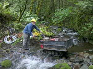 Remote access with our power wheel barrow, Columbia River Gorge 2010.