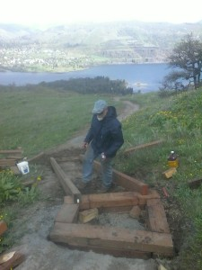 Building Crib Ladder stairs, Tom McCall Point, Oregon 2015.